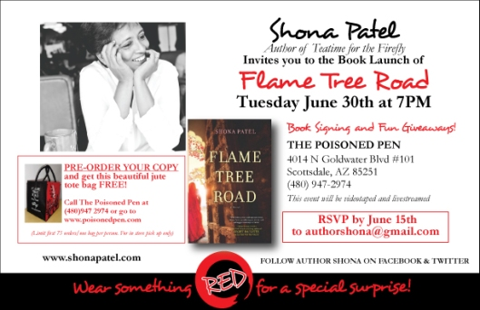 FLAME TREE ROAD: Book Launch at the Poisoned Pen: 30th June, 7PM