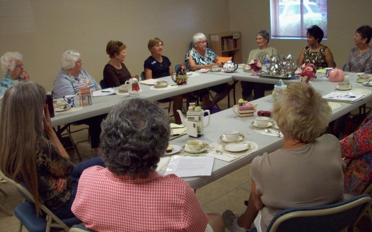 Teatime with writers at the Carriage Manor Writers group.